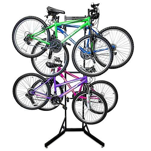 RaxGo Bike Storage Rack, 4 Bicycle Garage Floor Stand, Adjustable, Freestanding, Adjustable Hooks,...