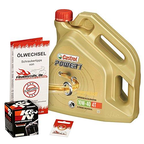 Castrol 10W-40 Öl + K&N Ölfilter für Yamaha FZ1 /Fazer/GT, 06-15, RN16 - Ölwechselset inkl. Motoröl, Filter, Dichtring