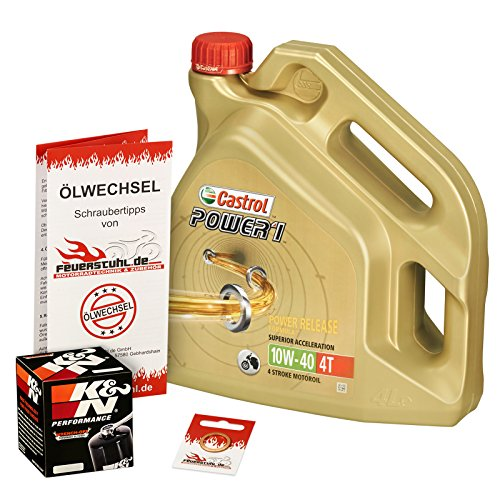 Castrol 10W-40 Öl + K&N Ölfilter für Kawasaki Z 1000 /SE/SX, 07-15, ZRT00B/D/F/G/L - Ölwechselset inkl. Motoröl, Filter, Dichtring
