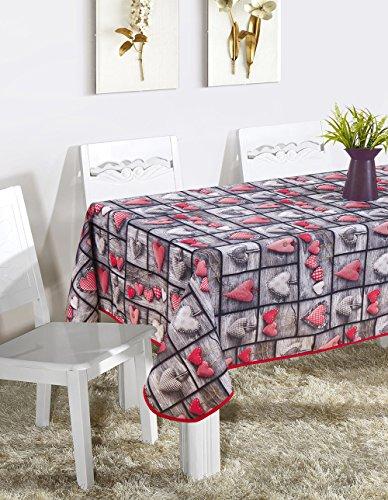 Mantel Mesa Cuadrado Antimanchas Impermeable, Manteles Estampados para Comedor Cocina Casa Hotel Restaurante, 140x140cm, Corazones Rojo