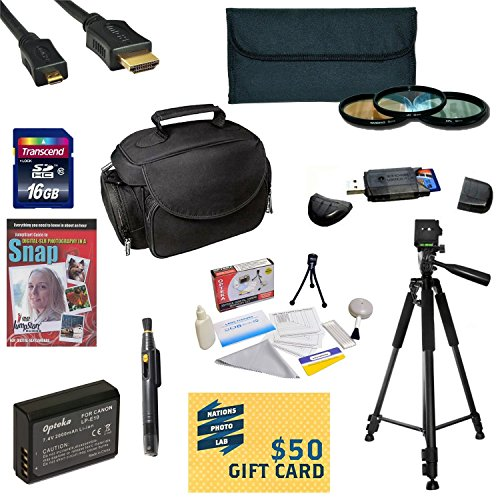 """47th Street Photo Best Value Accessory Kit For the Canon 1100D, Rebel T3 - Kit Includes 16GB High-Speed SDHC Card + Card Reader + Extra Battery + Travel Charger + 58MM 3 Piece Pro Filter Kit (UV, CPL, FLD Lens) + HDMI Cable + Padded Gadget Bag + Professional 60"""" Tripod + Lens Cleaning Pen + Cleaning Kit + DSLR Camera Intro DVD Photo Print + More"""