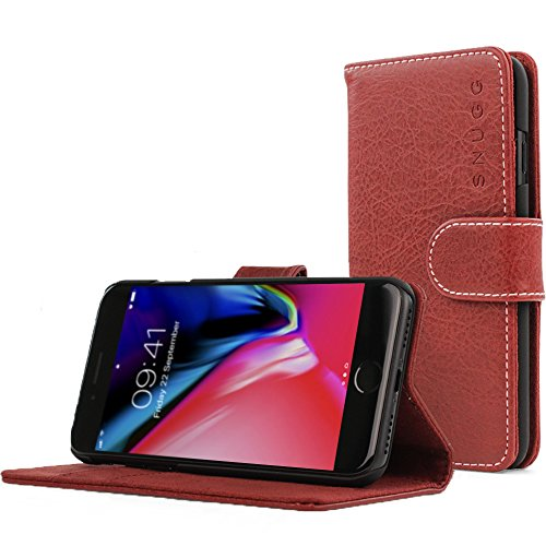 Snugg iPhone SE (2020) / 8/7 Wallet Case – Leather Card Case Wallet with Handy Stand Feature – Legacy Series Flip Phone Case Cover in Dusty Cedar Red