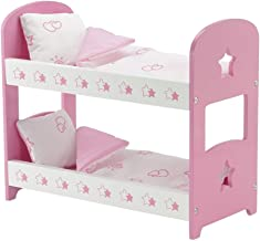 Emily Rose 14 Inch Doll Furniture | Lovely Pink and White Star Themed Doll Bunk Bed, Includes Plush Reversible Bedding | Fits 14