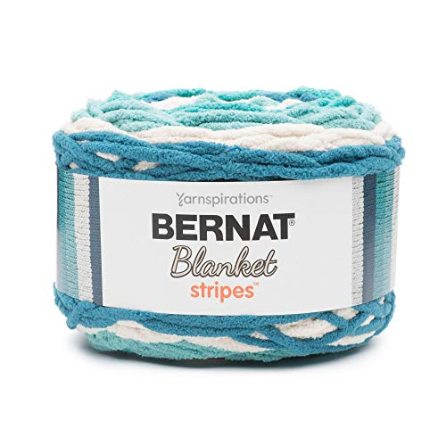 Bernat Blanket Stripes Yarn, 10.5 oz, Gauge 6 Super Bulky Chunky, Teal Deal