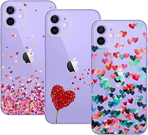 Young & Min Cover Compatible per iPhone 12 / iPhone 12 PRO Custodia, 3 Pack Morbido Trasparente Silicone Custodie Protettivo TPU Gel Case per iPhone 12 / iPhone 12 PRO, Amore