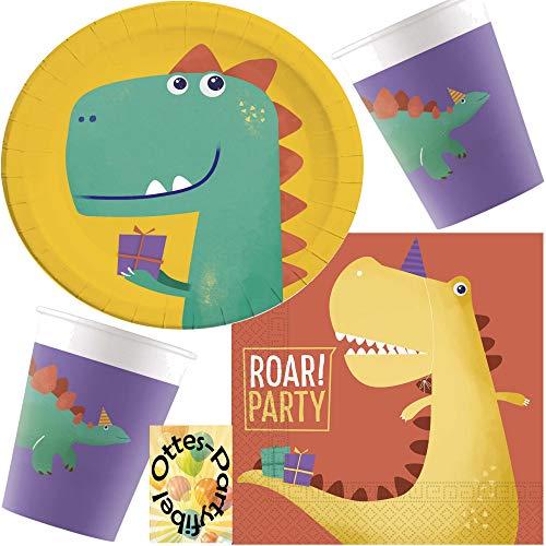 HHO Dino-Saurier-Party-Set Roar 36tlg. für 8 Gäste Teller Papp-Becher Servietten