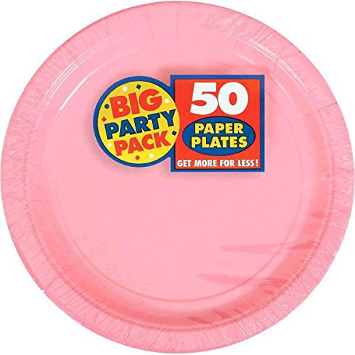 Amscan New Pink Paper Plate Big Party Pack, 50 Ct.