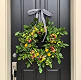 INIFLM Artificial Lemon Wreath, 16 Inch Handcraft Wreath Floral Simulation Flowers Garland, Front Door Faux Wreath with Green Leaves and Red Fruit for Wall Wedding Party Home Decoration