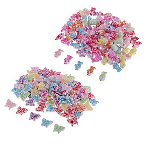 joyMerit 200 Piezas Acrílico Cuentas Sueltas Mariposa Goldfish Accesorios de Manualidades DIY