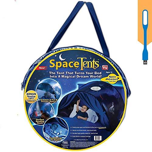Nifogo Tente lit Enfant Tente Enfant Tente Kids Play Tents Pop à Bed Tent Castles Cadeaux d'anniversaire Parure de lit Décoration (Ciel étoilé)