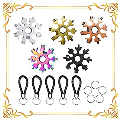KOXHOX 2020 New Upgrade Snowflake Multitool 18 in 1 Portable Multifunction Wrench Bottle Opener Easy N Genius Stainless Steel Snowflake Tool (A+B+C+D+E)