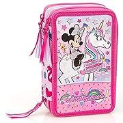 Disney Minnie Mouse XL Astuccio a Scompartimenti, 44-teilig Dimensioni: circa 20 x 12,5 x 6,5 cm, Peso: circa 500 G + con ricco ripieno, 18 pastelli, 18 penne in fibra, 2 penne a sfera, 2 matite, 1 temperino, 1 gomma, 1 righello, 1 forbice per bambin...
