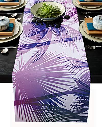 FAMILYDECOR Camino de mesa de arpillera de lino para mesas de comedor, 40,6 x 182,8 cm, camino de mesa de granja de árbol de coco tropical para fiestas de vacaciones, hogar, cocina, decoración de boda