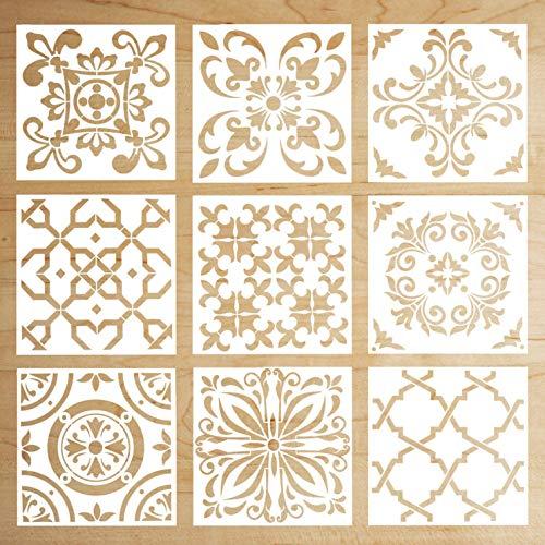 Alumuk Boden Fliesen Schablone Wandfliese, Farbe Fliesen Muster auf Böden, Wände, Möbel, Wiederverwendbar Wohndeko & Basteln Schablone - 15X15CM