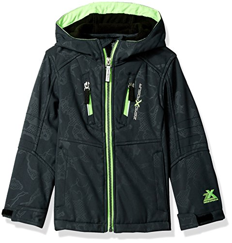 ZeroXposur Little Juvi Boys Cadet Softshell Jacket, Grey/Lime, Small