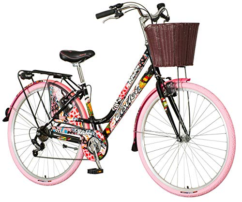 breluxx® 28 Zoll Damenfahrrad Venera Fashion Bonbon Citybike mit Korb + Licht Retro Damenrad, 6 Gang Shimano, rosa Reifen, Modell 2020