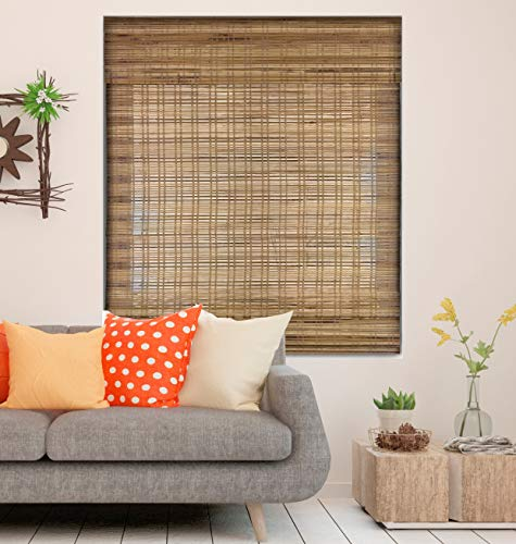 Calyx Interiors Bamboo Roman Window Blinds Shades, 27' W x 60' H, Cordless Dali Tuscan