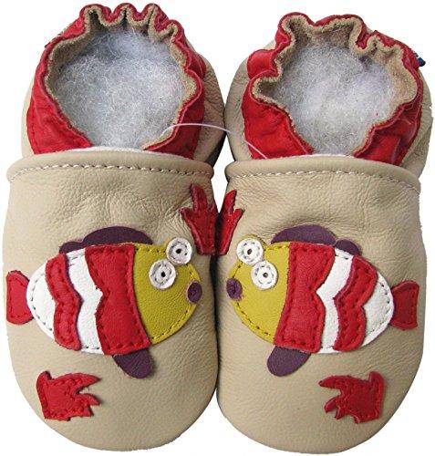 Carozoo Baby- und Kleinkind-Schuhe mit weicher Sohle, Leder, cremefarben, Elfenbein - cremefarben - Größe: 18-24 Monate