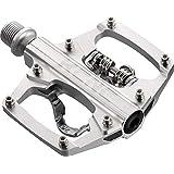 KCNC 自転車用 軽量 アルミ ビンディングペダル クリップレス プラットフォームペダル シルバー KPED09 577572