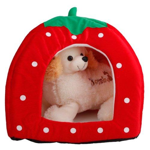 Soft Cotton Cute Strawberry Style Multi-Purpose Pets Dog Cat House Nest Yurt Size L Bright Red