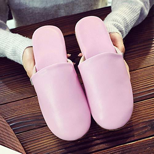 Nwarmsouth Zapatos de Interior para Exteriores transpirab,Zapatillas de Piso para el hogar, Zapatos de algodón Antideslizantes silenciosos-Pink_38-39,Zapatos de Zapatillas de Lujo para Hom