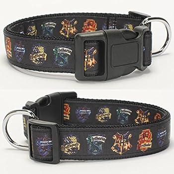 1 25mm hot Black Harry Potter Pattern Dog Collar,1 inch Dog Collar 36-55CM