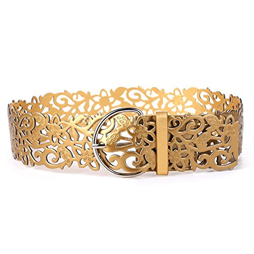 Kentop Mode Hueca Cintura cinturón de Mujer Piel elástico Cinturón Ancho Cadera Cinturón Cinturón de Piel Cinturón Cintura Cinturón, Piel sintética, Dorado