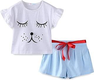 LittleSpring Little Girls Outfits Children's Cartoon Short Sleeve Shorts Two-Piece Sets