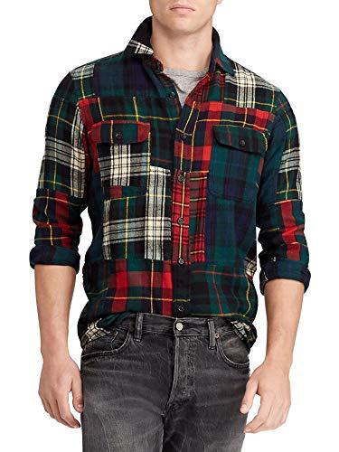 Men's University Multicolor Plaid Patchwork L/Classis FIT Flannel Shirt W/Brown Suede Elbows (XL)