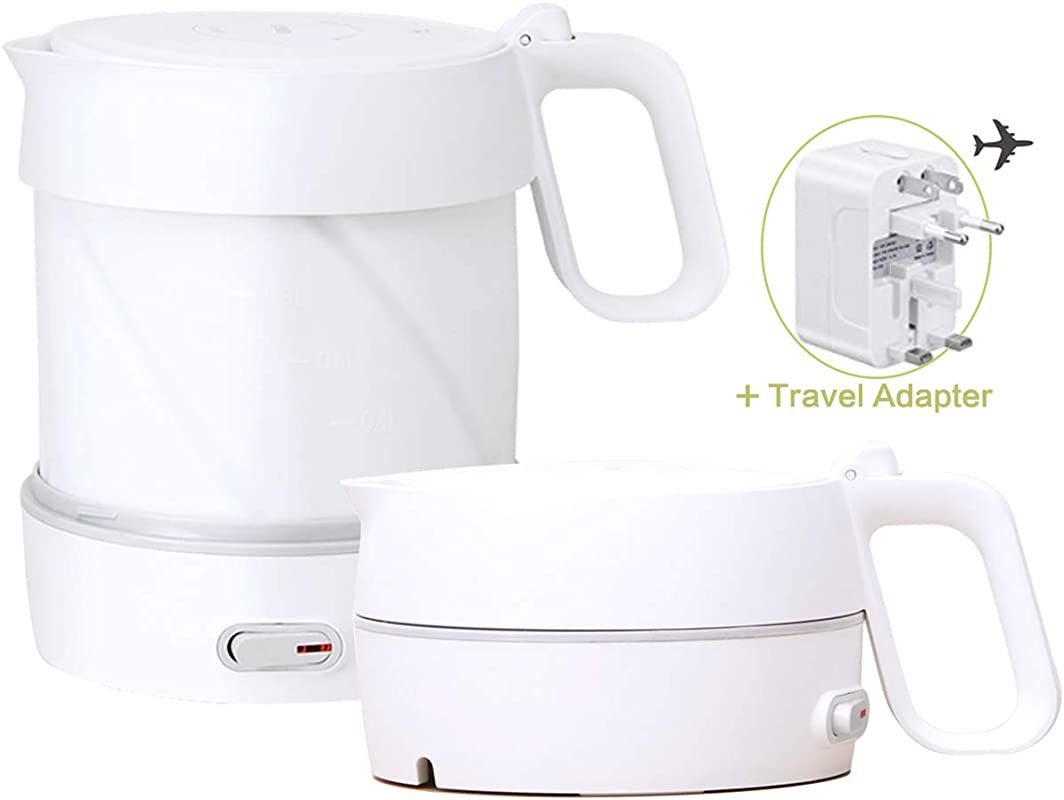 HOMYHOME Travel Foldable Electric Kettle Fast Water Boiling Food Grade Silicone Small Collapsible Portable Boil Dry Protection 1 Liter 1 8 Quart 110 220v White