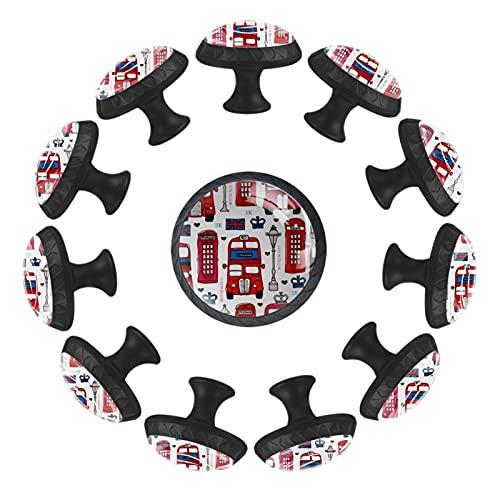 London Love UK Bus 12 pomelli rotondi per cassetti con viti, per casa, ufficio, cucina, credenze, armadi, armadietti, pomelli rotondi per mobili
