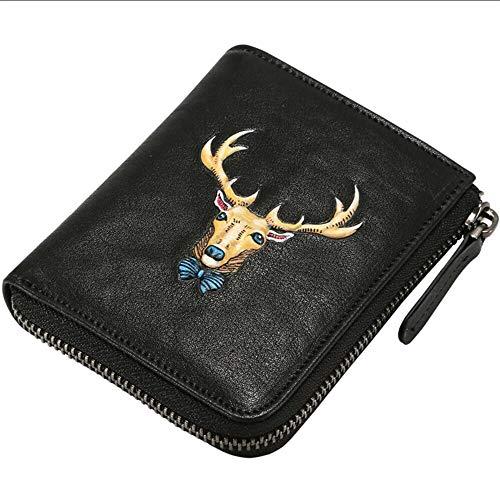 EEKUY heren lederen korte portemonnee portemonnee met massief hert totem op het oppervlak kan houden bankbiljetten foto 7 bankkaart 4.52X3.74X 0.8