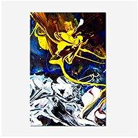 Ytsmsyyキャンバスポスターとプリントの現代抽象油絵壁アート絵画リビングルームデコのためのゴージャスな色の抽象画; 50x70cm.20x27inchフレームなし