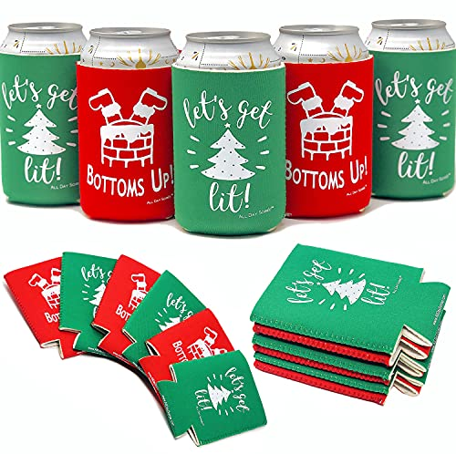 Holiday Festive Christmas in July Can Coolers - 6 Pack   Bottoms Up Let's Get Lit Stocking Stuffer Gifts   Funny Ugly Sweater Party Prize, Favors, Decorations, Supplies, Drink, Beer, Bottle, Dad, Him
