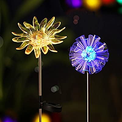 Bright ZEAL [Set of 2] LED Color Changing Solar Stake Lights Outdoor - Solar Light LED Garden Decor Statues - Patio Lights LED Outdoor Multicolor Changing LED Lights