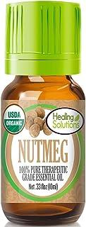 Organic Nutmeg Essential Oil (100% Pure - USDA Certified Organic) Best Therapeutic Grade Essential Oil - 10ml