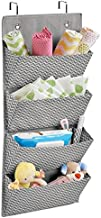 mDesign Soft Fabric Wall Mount/Over Door Hanging Storage Organizer - 4 Large Pockets for Child/Kids Room or Nursery, Hooks Included - Chevron Zig-Zag Print - Gray/Cream