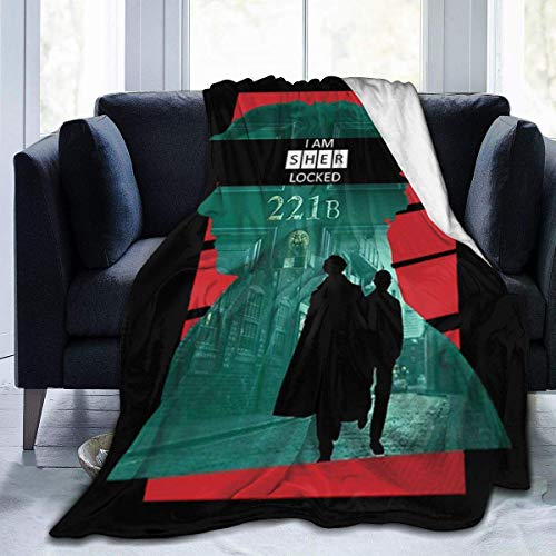 FHDSF Sherlock Throw Blanket Suitable Ultra Soft Micro Fleece Weighted Blanket Cartoon Smooth Soft Print Blanket for Sofa Chair Bed Office Travelling Camping Multi-Size