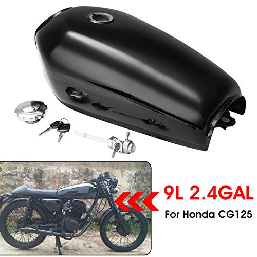 Motorcycle Cafe Racer Vintage Fuel Gas Tank With Tap Fit For Honda CG125 (Bright black)