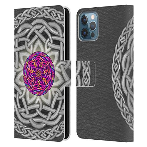 Head Case Designs Officially Licensed Beth Wilson Tropical Pink Celtic Knots Leather Book Wallet Case Cover Compatible with Apple iPhone 12 / iPhone 12 Pro