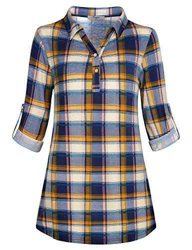 Cestyle Flowy Tunic Top 3/4 Sleeve Misses Petite Wowem Clothing Polo Plaid Boyfriend Shirt Multi-Colored Grid Rouched Blouses Trapeze Cozy Utility Semi Loose Pullover Long Sleeve Swing Autumn Blue L