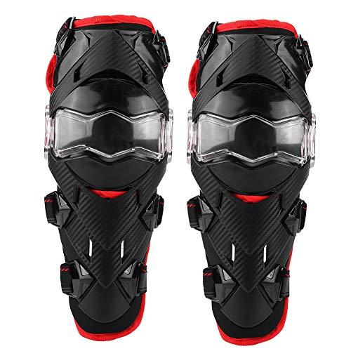 Kniebeschermers 2 stuks Motorfiets PE + EVA Moto Guard Pad Ademend Anti-slip Brace Elleboog Scheenbeschermers Set voor Motobike Wielrennen Crossmotor(Rood)