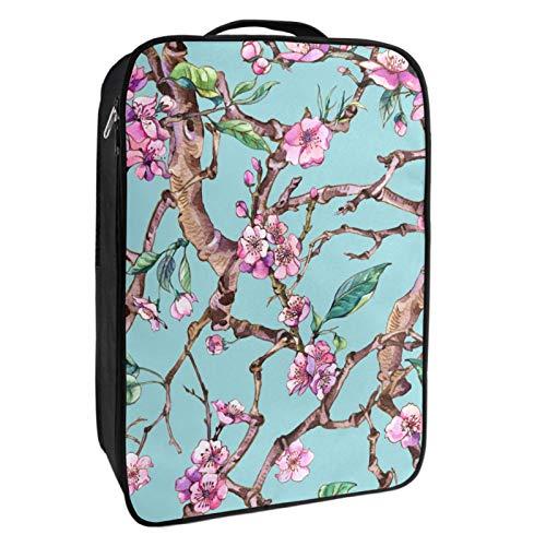 Caja de almacenamiento para zapatos de viaje y uso diario, con diseño de flores de cereza, color rosa y rosa