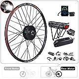 BAFANG Rear Wheel 500W 48V Brushless Hub Motor Electric Bike Conversion Kit for Kinds of Bicycles 26' Rear Wheel with Battery and Charger (26' Rear wheel+Display P805C+Shark Battery 48V 17.5Ah)