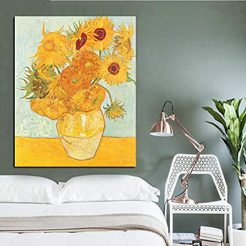 SADHAF olieverfschilderij met zonnebloemenvaas op canvas, origineel wandschilderij voor woonkamer 70X100cm (senza cornice) A6