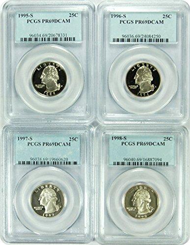 """0 S 1995-98S Date Run of """"4"""" PCGS PR69DCAM Washington Quarters Quarter DCAM PCGS PR-69"""