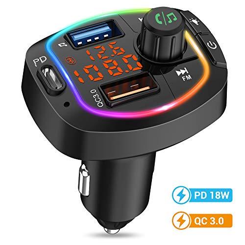 MustWin FM Transmitter Auto Bluetooth Radio Adapter Kfz mit 3 USB Ladegerät PD/ QC3.0 Schnellladung & Freisprecheinrichtung, Bluetooth Adapter Auto mit Farbig Backlit, Unterstützt TF Karte & USB-Stick