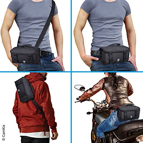CamKix Roll-Out Bag with Waist/Shoulder Strap Compatible with GoPro Hero and DJI osmo Action + Other Action/Compact Cameras - Multiple Carry Options (Hand, Shoulder, Waist, Back) - Smart Case