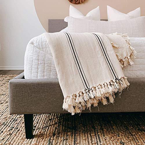 The Loomia Sophie Turkish Cotton Boho Farmhouse Throw Blanket (Extra Large 65' X 85', Cream Ecru Base with Black Stripes)