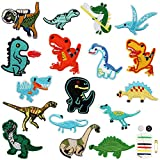 ToppeTermoadesive 17 Pezzi Dinosauro Patch ToppeTermoadesiveBambini ToppaRicamata per Riparare Buchi e Pantaloni, Giacche, Maglioni, Camicie, Compreso un set di kit da cucito